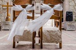 Sillas principales de la boda Foto de archivo libre de regalías