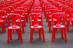 Sillas vacías rojas Foto de archivo libre de regalías