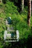 Sillas verdes del adirondack en la hierba larga fotos de archivo libres de regalías