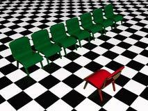 Sillas verdes y silla roja ilustración del vector