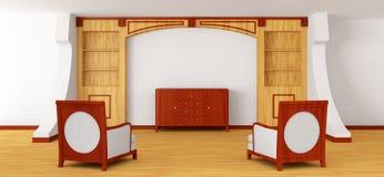 Sillas y oficina con el estante para libros en interior moderno Fotografía de archivo libre de regalías