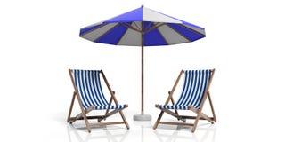 Sillas y paraguas de playa en el fondo blanco ilustración 3D Imagen de archivo libre de regalías