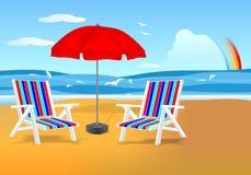 Sillas y paraguas en la playa, vector de los cdr stock de ilustración