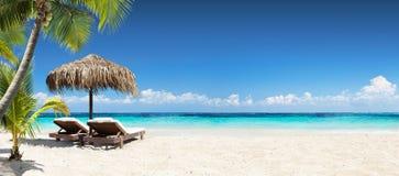 Sillas y paraguas en playa tropical imagen de archivo