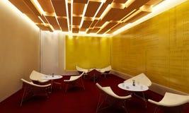 Sillas y tablas modernas blancas del sitio del salón Foto de archivo libre de regalías