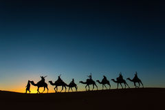 Sillhouette of camel caravan with happy peopple going through th Stock Photography