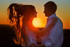 Sillhouette couple love Stock Image