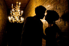 Sillhouette couple love and Romatic Stock Photo
