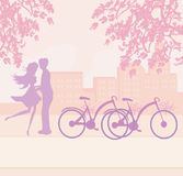 Sillhouette of couple standing in the park Stock Photos