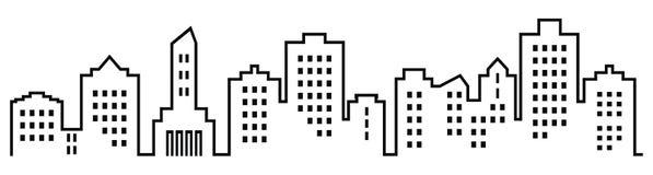 Sillhouette de la ciudad, grupo de casas con las ventanas libre illustration