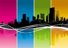 Sillhouette di paesaggio urbano Fotografie Stock Libere da Diritti