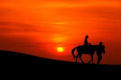 Sillhouette of a journey on horseback Stock Photos