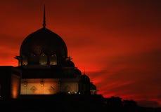 Sillhouette of a mosque II. Masjid Putrajaya, Kuala Lumpur at sunset royalty free stock photo