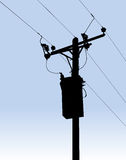 Sillhouette power line or telegraph pole and wires illustration Royalty Free Stock Images