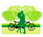 Couple in love standing in the park Stock Image
