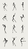 Sillhouettes in black. Set of different figures moving in silhouette - dancing, posing, sitting, using spyglass Stock Photo