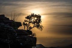 Sillhoutte di tramonto di Tundavala Fotografie Stock Libere da Diritti