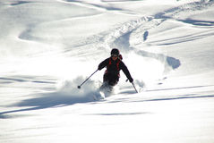 SILLIAN,AT - CIRCA MARCH 2011 - Skier leaves a track in deep snow circa March 2011 at Sillian,AT. royalty free stock image