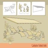 Sillones, patio, toldo y flores en pote Zona de descanso imagen de archivo