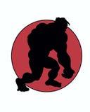 Sillouette de um símbolo de passeio do caráter do homem das cavernas e de um círculo vermelho Fotos de Stock Royalty Free