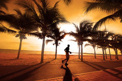 Sillouette of the man jogging. Royalty Free Stock Images