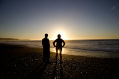 Sillouette People and Beach Stock Image