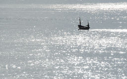 Sillouette of small boat. In Khao Laem Ya ,Thailand Stock Photography