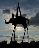 Sillouette space elephant statue Salvador Dali Stock Images