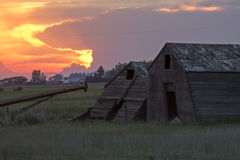 Sillouette Sunset Saskatchewan. Orange Color Storm Clouds Royalty Free Stock Images