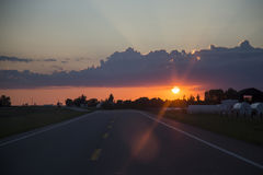 Sillouette Sunset Saskatchewan Royalty Free Stock Photo