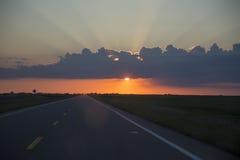 Sillouette Sunset Saskatchewan Stock Photography