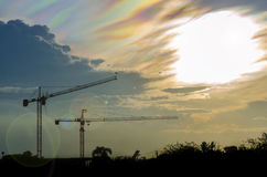 Sillouette tower crane Stock Images