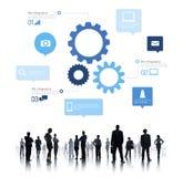Sillouette von globalen Geschäftsleuten Infographic Lizenzfreie Stockfotos
