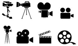 Silluettes av filmequpipmenten royaltyfri illustrationer