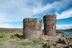 Sillustani印加人废墟,秘鲁旅行 库存照片