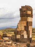 Sillustani坟茔在普诺,玻利维亚附近的 库存照片