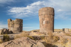 Sillustani Ancient burial ground with giant Chullpas cylindrical funerary towers built by a pre-Incan people near Lake Umayo in P stock photography