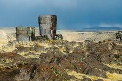 Sillustani Burial Ground. In Peru royalty free stock photo