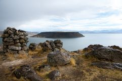 Sillustani Burial Ground. In Peru royalty free stock photography