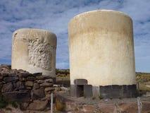 sillustani burrial Pré-inca de site avec des chulpas Photo stock