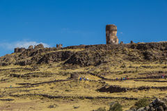 Sillustani chullpas (funerary towers), near Puno. Royalty Free Stock Photography