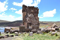 Sillustani Chullpas, Peru. Chullpas is an ancient  funerary tower originally constructed for a noble person or noble family. This is at Sillustani near lake Stock Photography