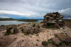 Sillustani Funeral Tower. Andes, Peru stock photos