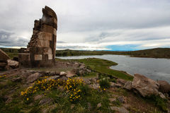 Sillustani Funeral Tower. Andes, Peru Stock Photo