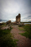 Sillustani Funeral Tower. Andes, Peru royalty free stock photo