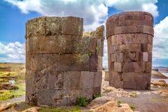 Sillustani - pre-Incan burial ground (tombs) on the shores of La. Ke Umayo near Puno, in Peru Stock Photos