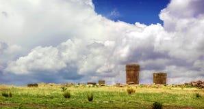 Sillustani - pre-Incan burial ground (tombs) on the shores of La. Ke Umayo near Puno, in Peru Stock Image