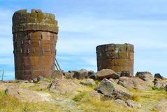 Sillustani, Puno, Pérou Photo stock