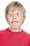 Silly blond boy head shot Stock Image