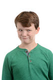 Silly Boy Face. Boy with silly facial expression white background Royalty Free Stock Images